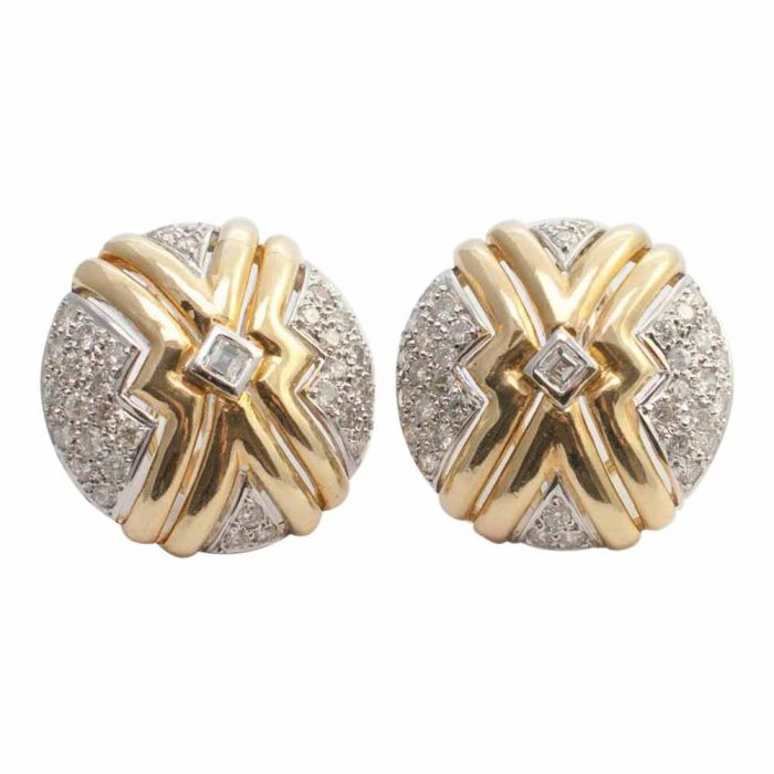 round 18ct Gold and brilliant cut Diamond Earrings