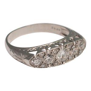 French Diamond Platinum Five-Stone Ring
