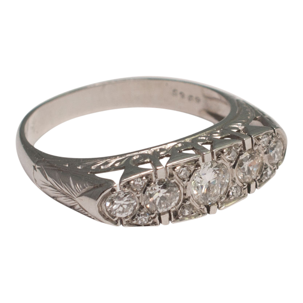French Diamond Platinum Five-Stone Ring