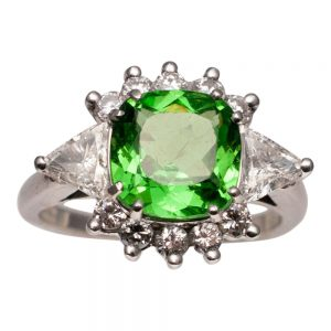 Tsavorite Garnet Diamond and Platinum Ring