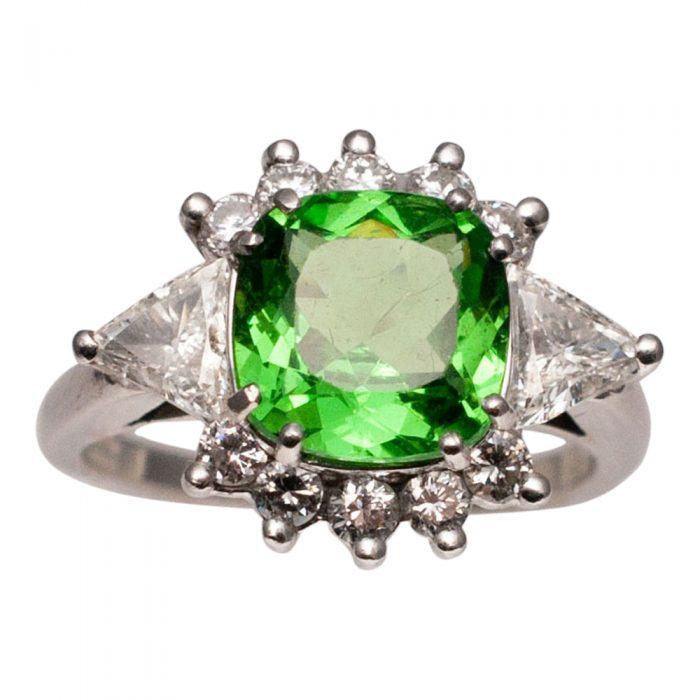 Tsavorite Garnet Diamond and Platinum Ring