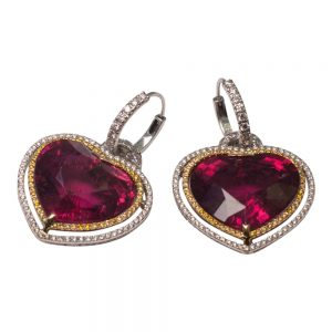 Rubellite Heart Day and Night Earrings from Plaza Jewellery