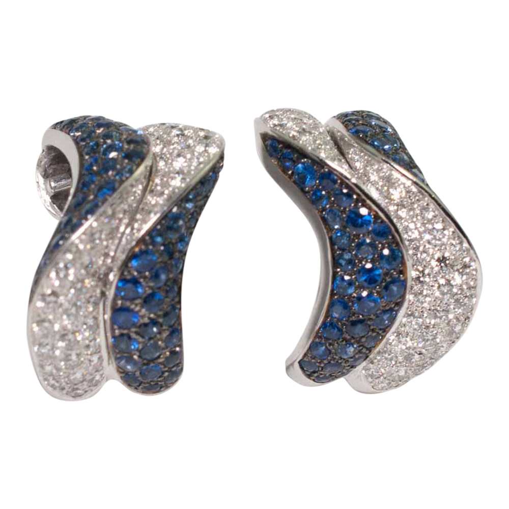 Adler Sapphire and Diamond Méandres Wave Earrings