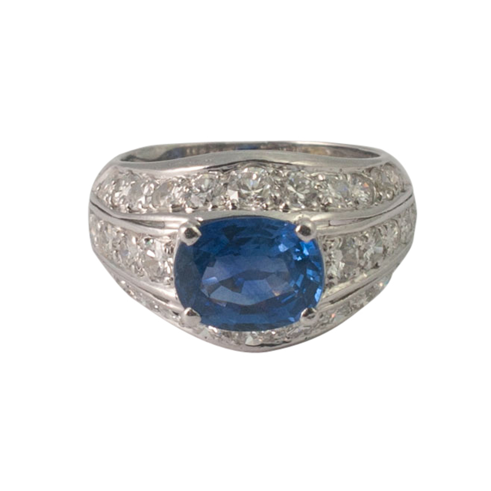 Sapphire and Diamond Bombé Ring