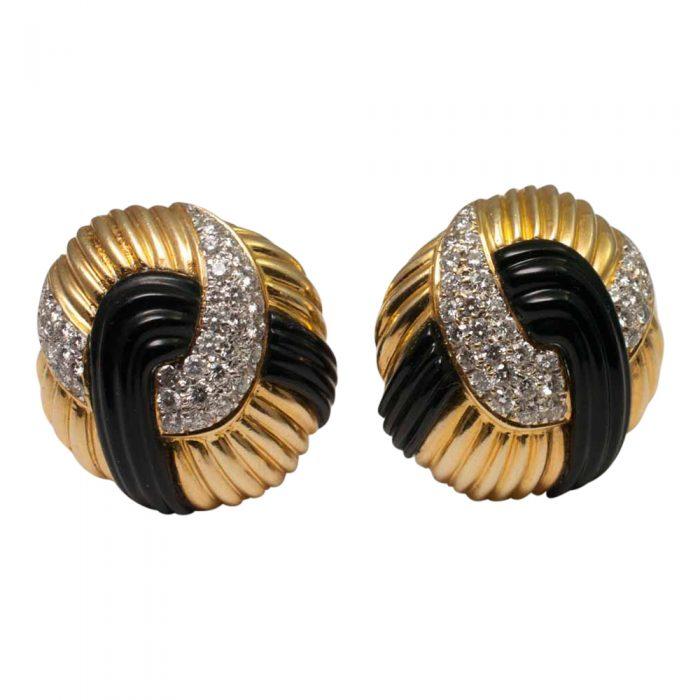Onyx Diamond and Gold Earrings