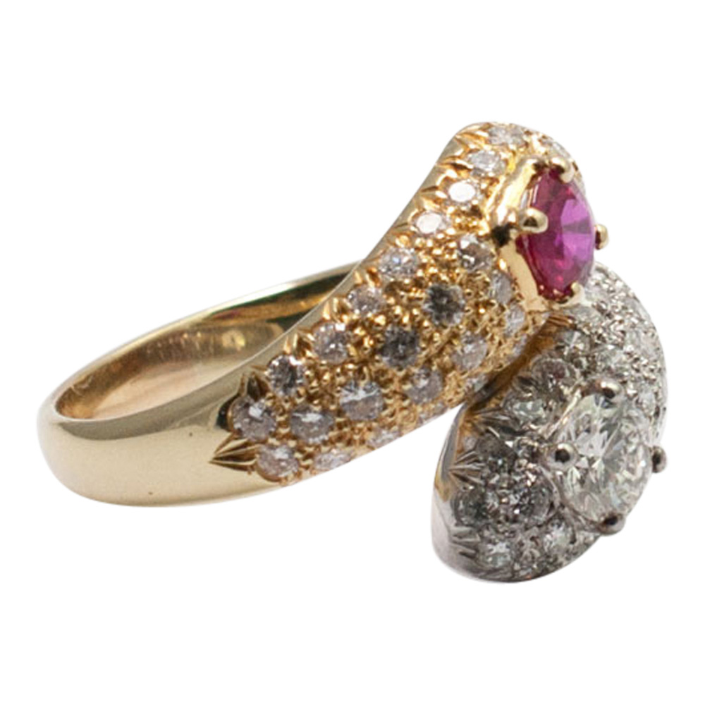 Ruby and Diamond Double Snake Ring from Plaza Jewellery - image 2
