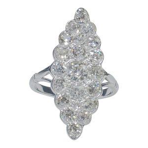 Antique Diamond and Platinum Marquise Ring
