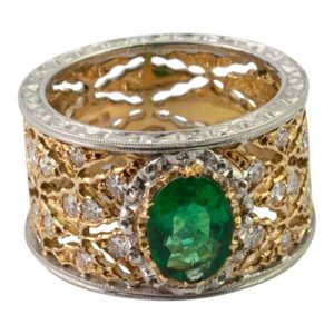 Emerald and Diamond Band Ring by Buccellati from Plaza Jewellery - image 1