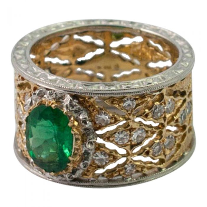 Emerald and Diamond Band Ring by Buccellati from Plaza Jewellery - image 2