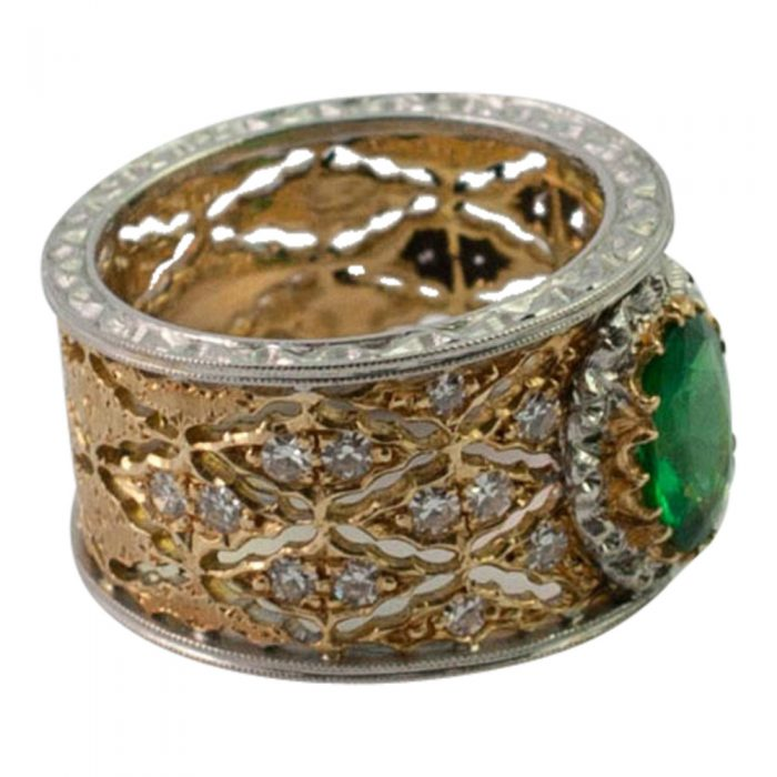 Emerald and Diamond Band Ring by Buccellati from Plaza Jewellery - image 3