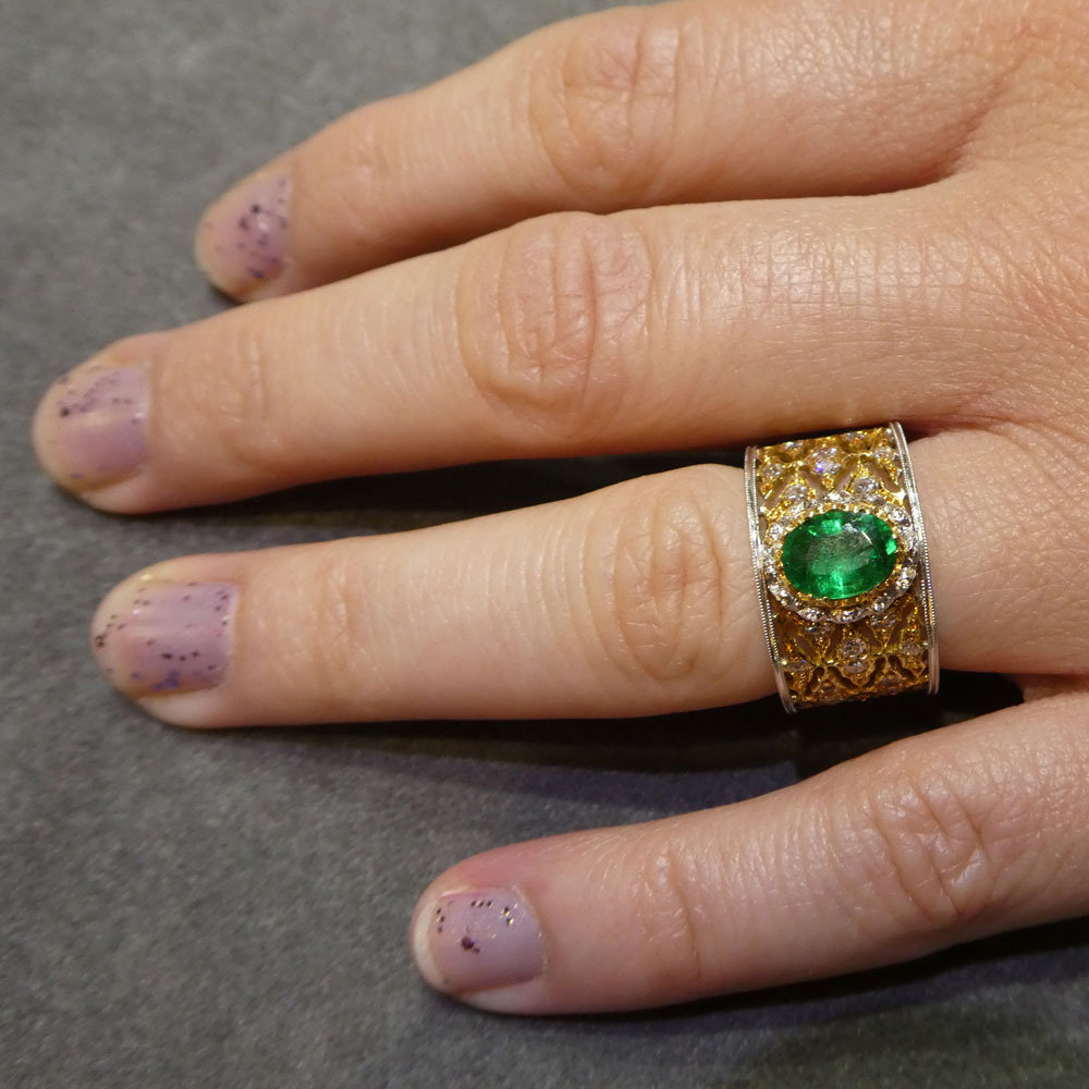 Emerald and Diamond Band Ring by Buccellati from Plaza Jewellery - image 9