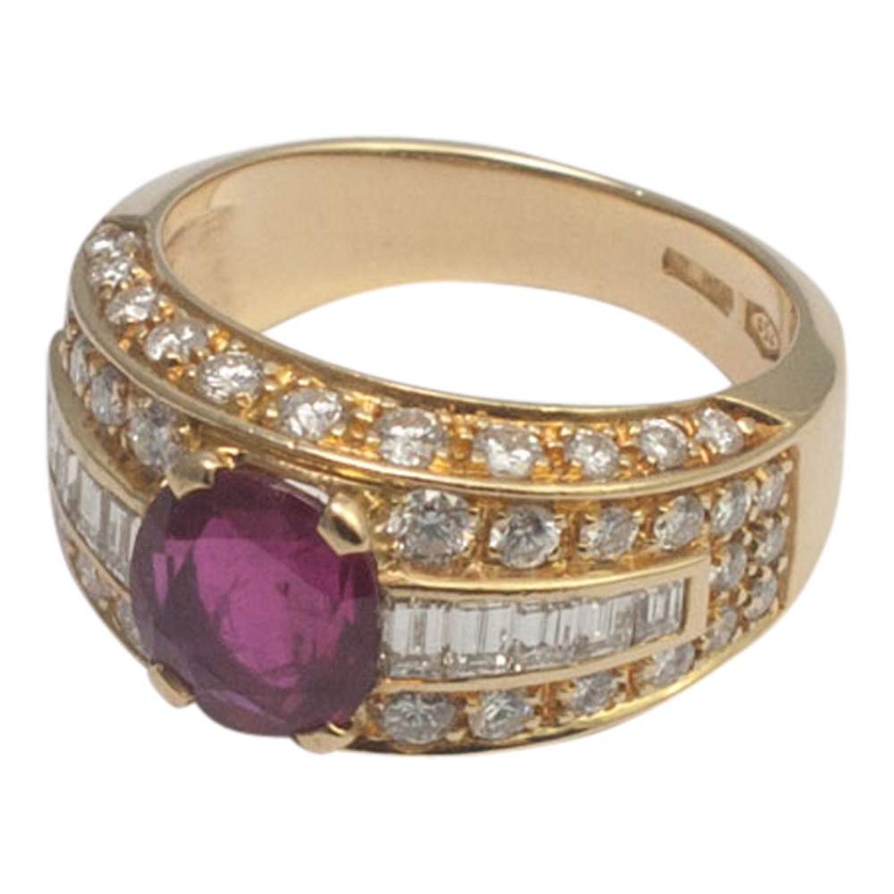 Ruby and Diamond Band Ring by Fred