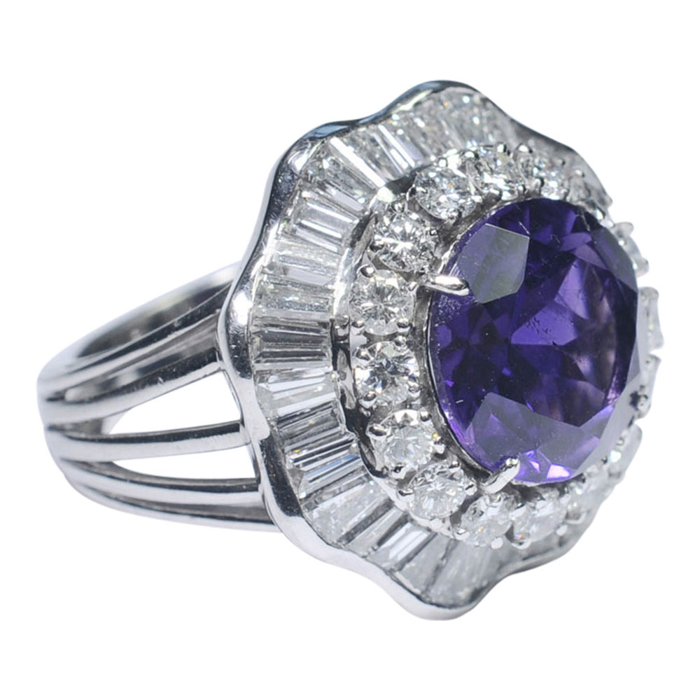 Amethyst And Diamond Cocktail Ring From Plaza Jewellery