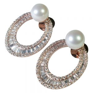 Diamond and South Sea Pearl Hooped Earrings from Plaza Jewellery - image 1