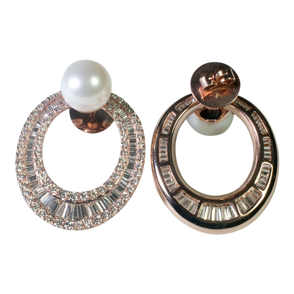 Diamond and South Sea Pearl Hooped Earrings from Plaza Jewellery - image 3