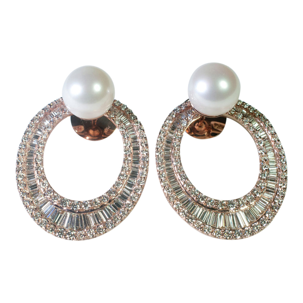 Diamond and South Sea Pearl Hooped Earrings from Plaza Jewellery - image 4