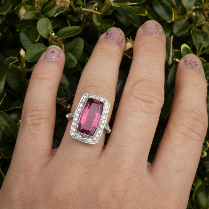1930s Tourmaline and Diamond Ring