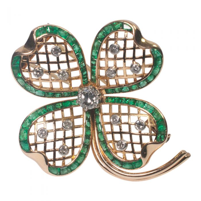 Mauboussin Emerald and Diamond Shamrock Brooch from Plaza Jewellery - image 1