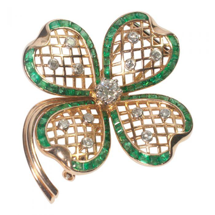 Mauboussin Emerald and Diamond Shamrock Brooch from Plaza Jewellery - image 2