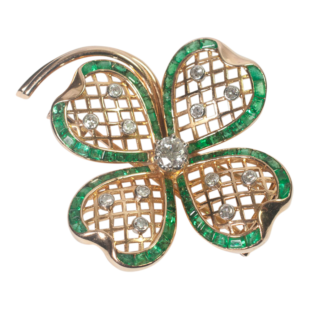 Mauboussin Emerald and Diamond Shamrock Brooch from Plaza Jewellery - image 3