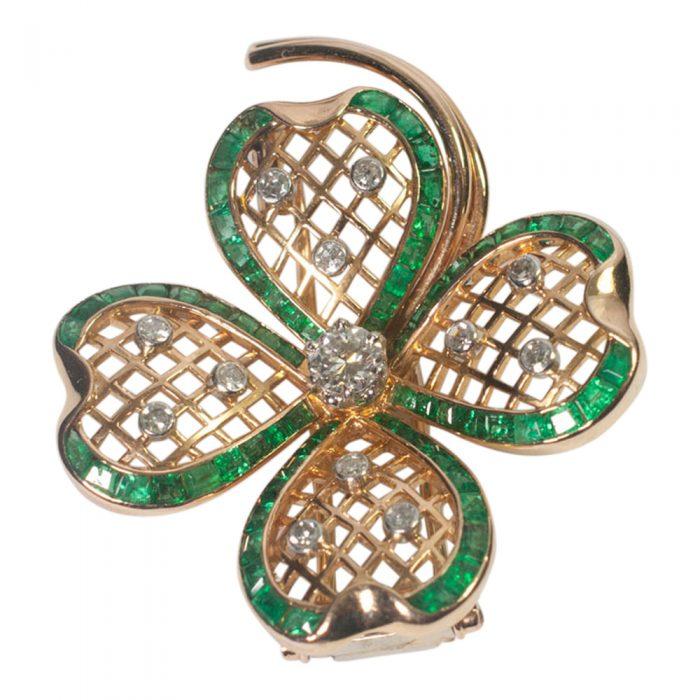 Mauboussin Emerald and Diamond Shamrock Brooch from Plaza Jewellery - image 4