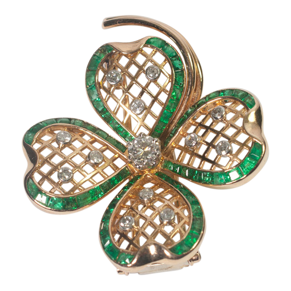 Mauboussin Emerald and Diamond Shamrock Brooch from Plaza Jewellery - image 4