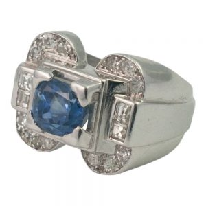 Art Deco Sapphire and Diamond Ring from Plaza Jewellery - image 1