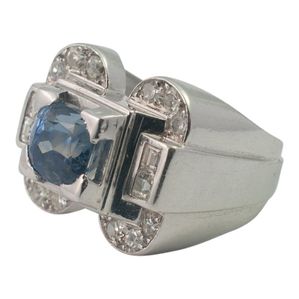 Art Deco Sapphire and Diamond Ring from Plaza Jewellery - image 2