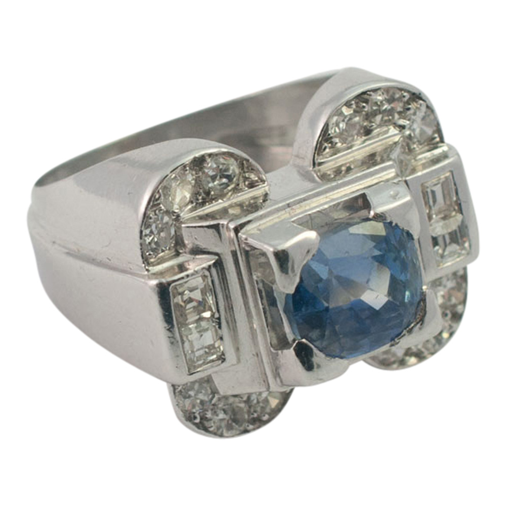 Art Deco Sapphire and Diamond Ring from Plaza Jewellery - image 3