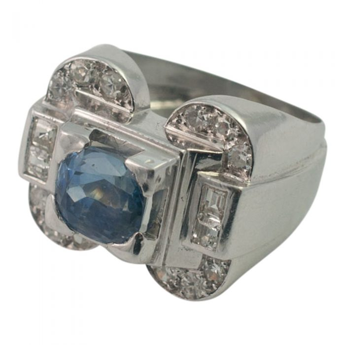 Art Deco Sapphire and Diamond Ring from Plaza Jewellery - image 4