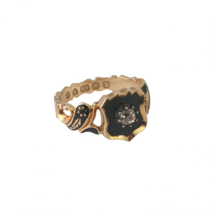 Victorian Gold and Diamond Enamel Mourning Ring from Plaza Jewellery - image 1