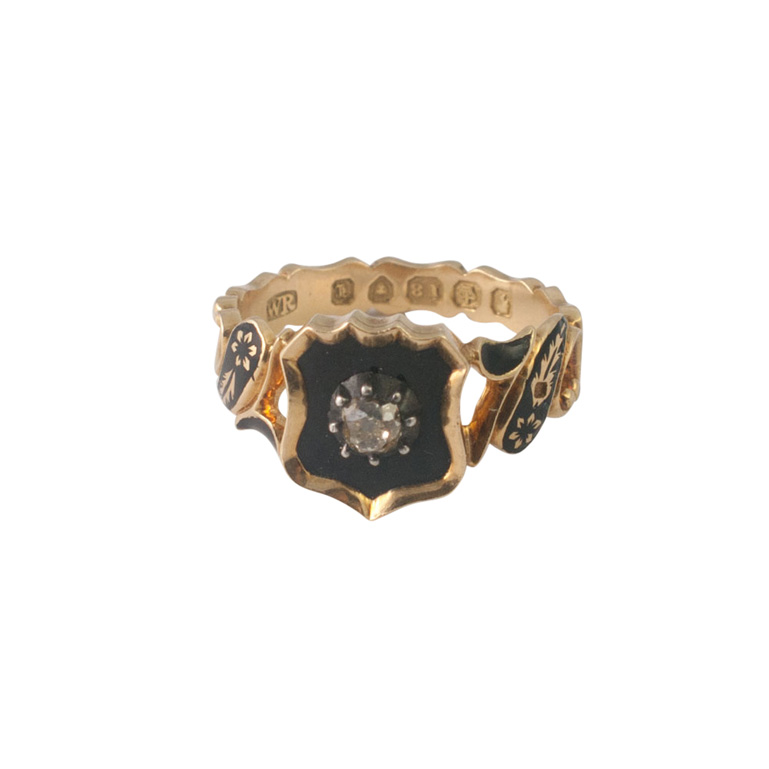 Victorian Gold and Diamond Enamel Mourning Ring from Plaza Jewellery - image 2