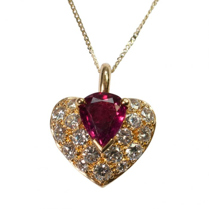 French Ruby and Diamond Heart Pendant from Plaza Jewellery - image 1