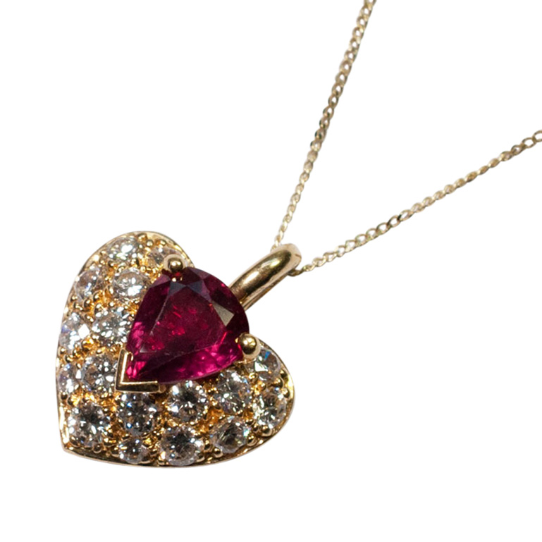 French Ruby and Diamond Heart Pendant from Plaza Jewellery - image 2