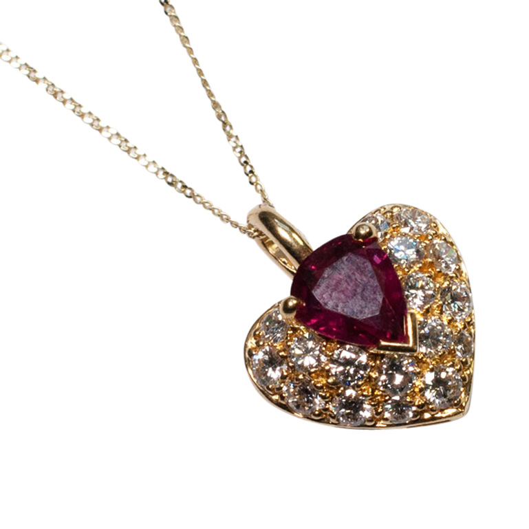 French Ruby and Diamond Heart Pendant from Plaza Jewellery - image 3