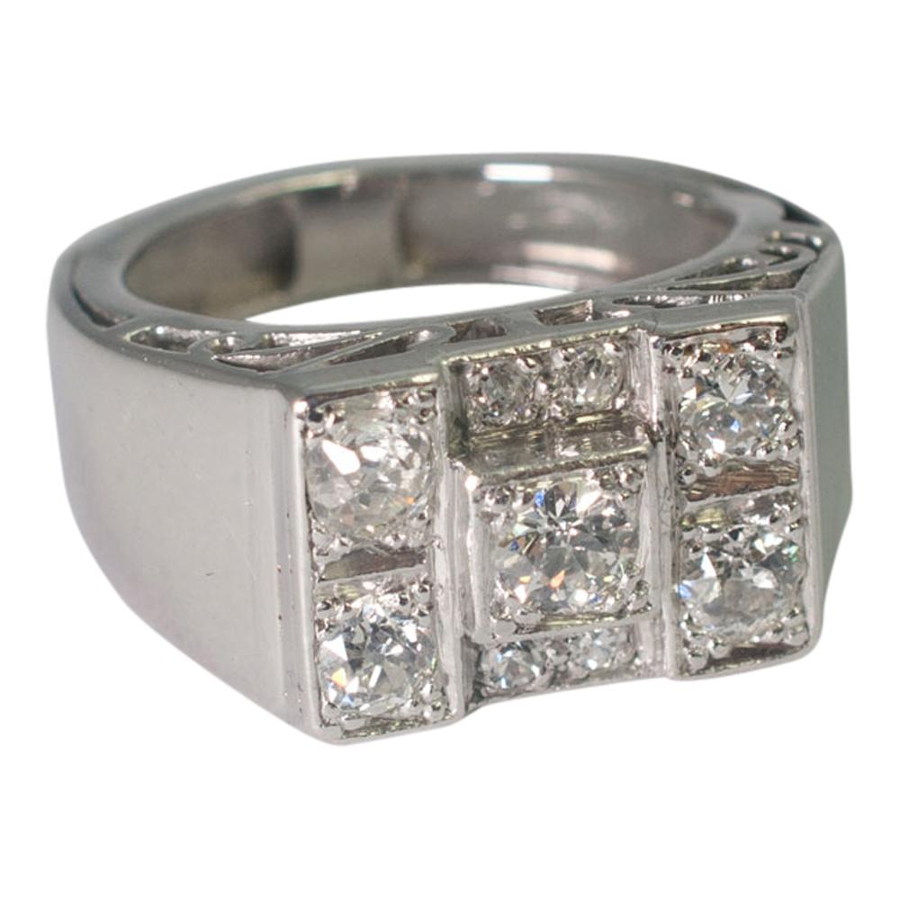 1930s Art Deco 18ct Gold Diamond Ring Plaza Jewellery