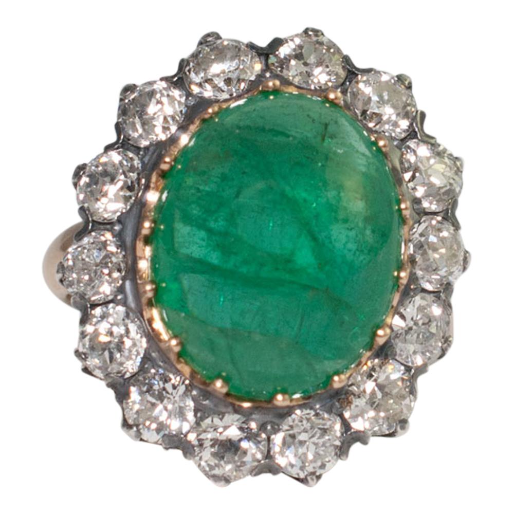 Victorian Cabochon Emerald And Diamond Ring Plaza Jewellery