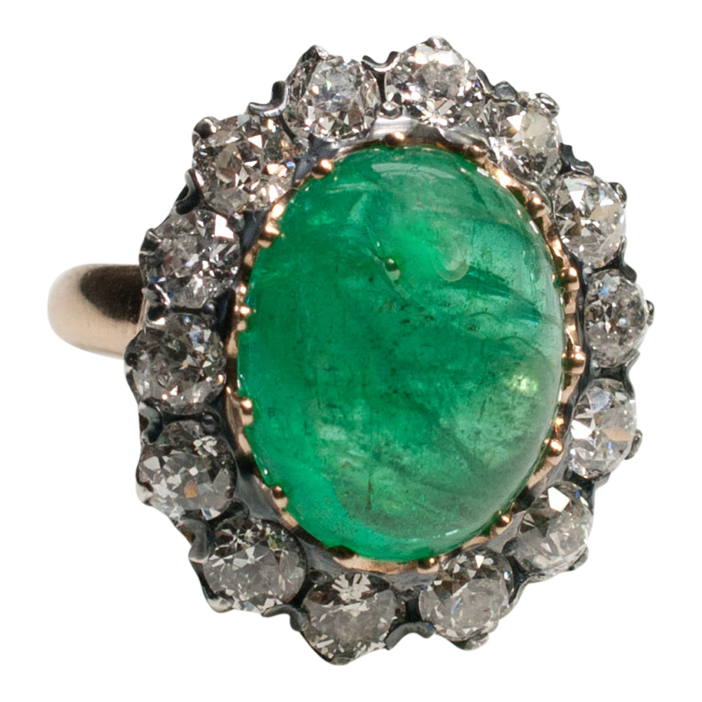 Victorian Cabochon Emerald And Diamond Ring Plaza Jewellery