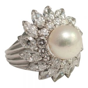 Pearl Diamond Cluster Ring from Plaza Jewellery
