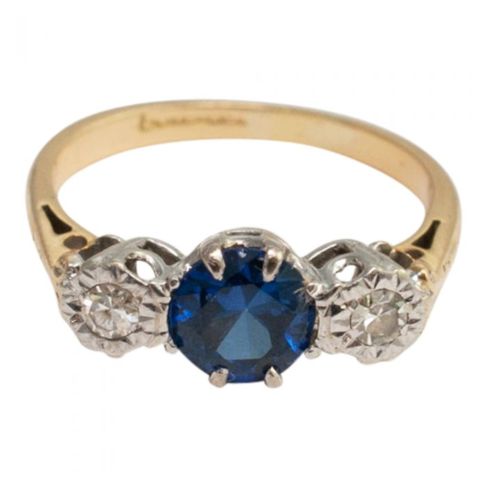 Sapphire and Diamond 3-stone ring