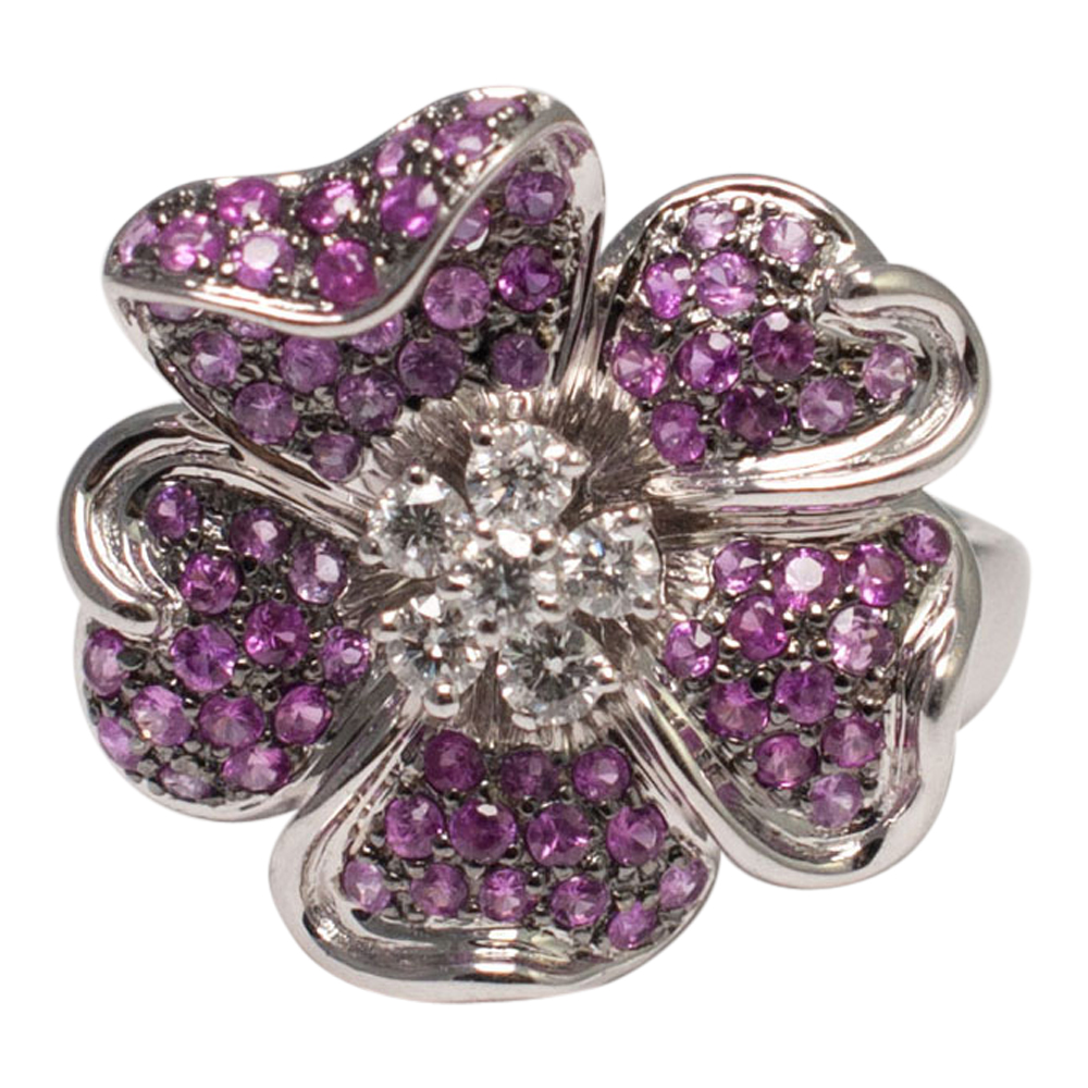 Pink Sapphire And Diamond Flower Ring Sold Plaza Jewellery