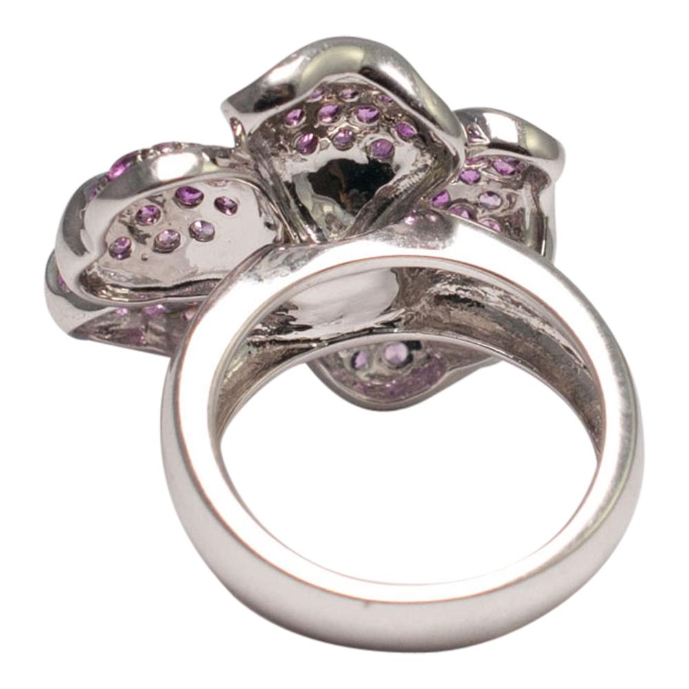 Pink Sapphire And Diamond Flower Ring Plaza Jewellery
