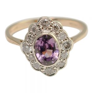 Violet Spinel and Diamond Cluster Ring