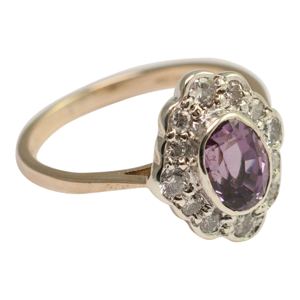 Violet Spinel And Diamond Cluster Ring Plaza Jewellery