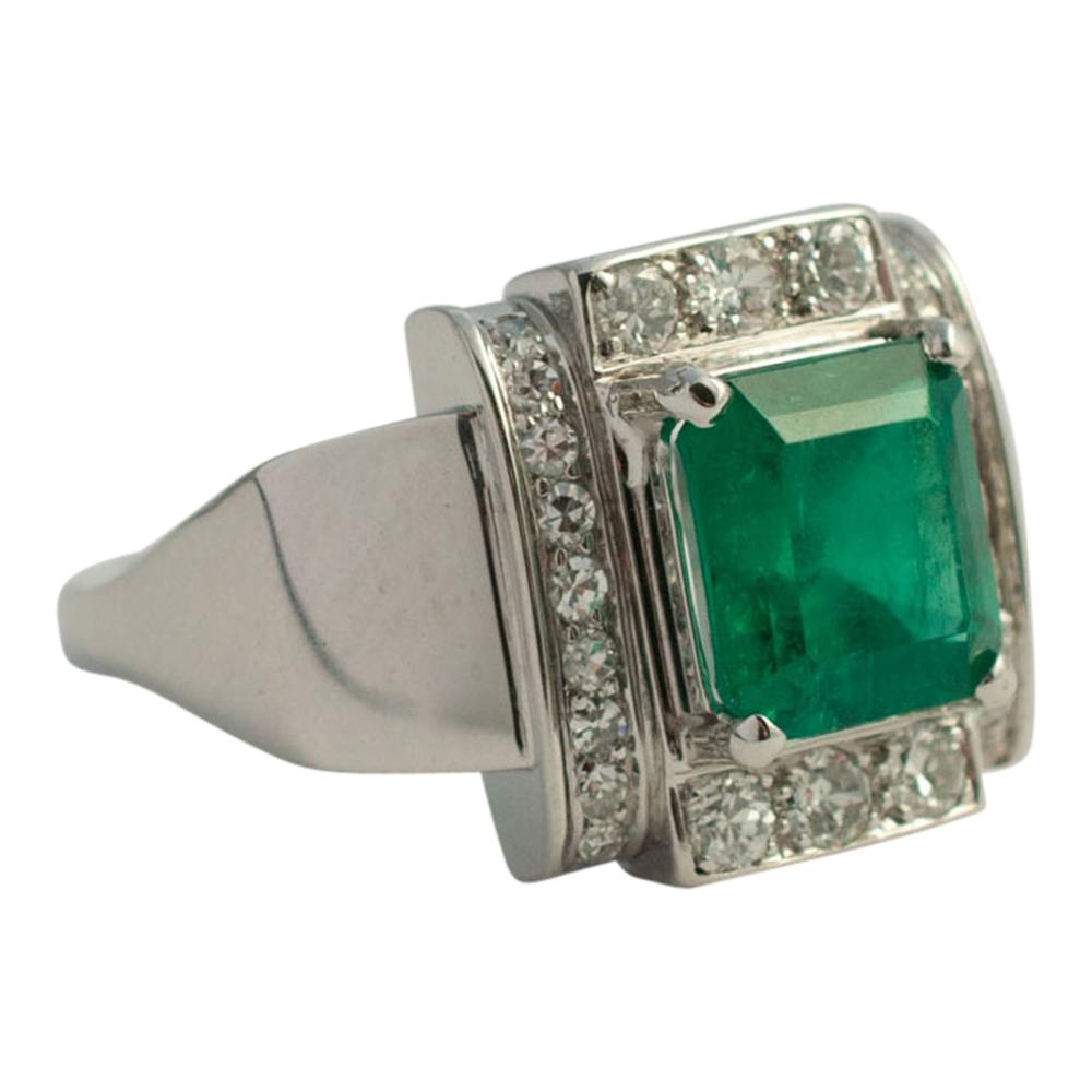 Art Deco Emerald And Diamond Ring Sold Plaza Jewellery
