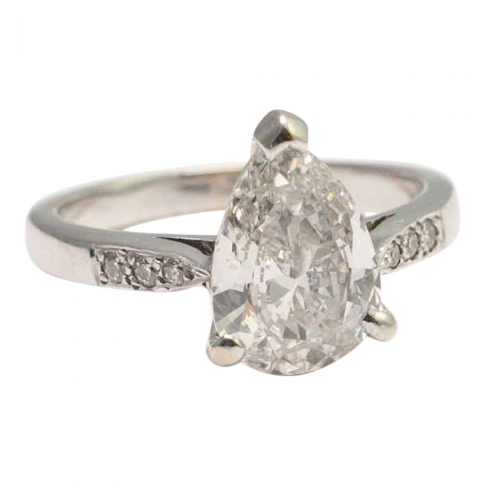 Pear Shaped 2.07ct Solitaire Diamond Ring
