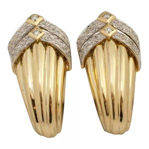 18ct Gold and Diamond Clip On Earrings