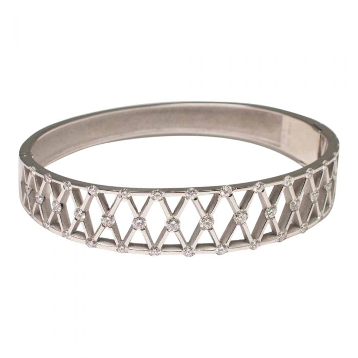 Front view of Diamond and Platinum bangle, with 'X' shaped lattice, incorporating diamonds at each corner. A lovely jewellery item available to buy online from Plaza Jewellery