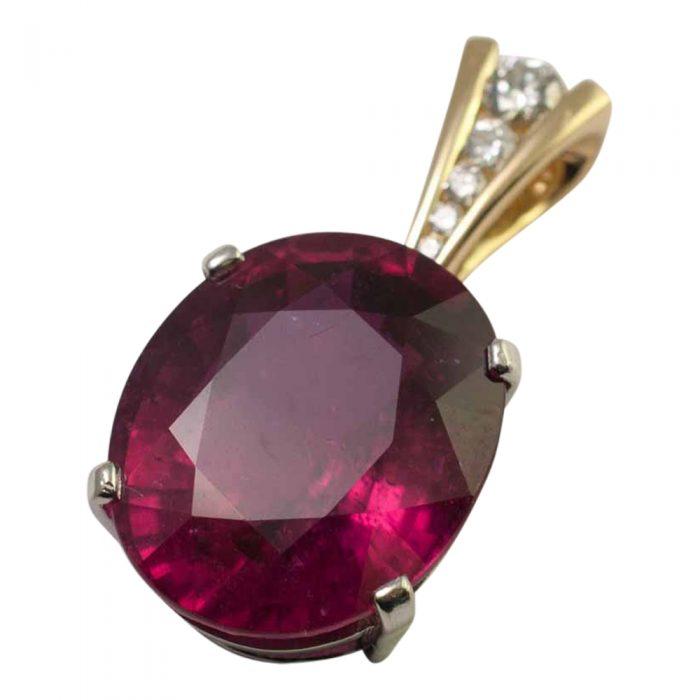 large rubellite diamond gold pendant