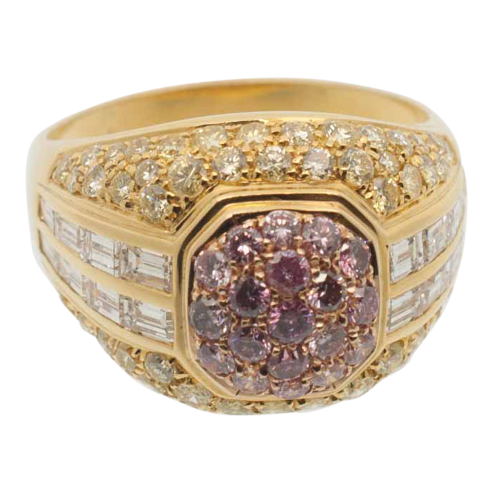 Pink Yellow and White Diamond Gold Bombé Ring